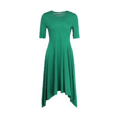 unbalance basic dress green